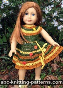 American Girl Doll Free Crochet Pattern by ABCknitting-patterns.com - Autumn Lace Dress