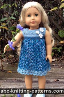 American Girl Doll Free Crochet Pattern by ABCknitting-patterns.com - Summer Stream Dress