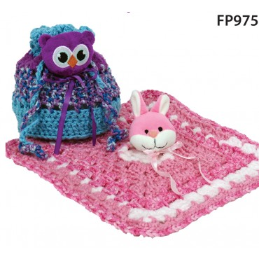 Free Crochet Patterns - Drawstring Purse (bag) and Baby Lovie Blanket by Mary Maximfeaturing DMC Top This! yarn - photo credit: marymaxim.com