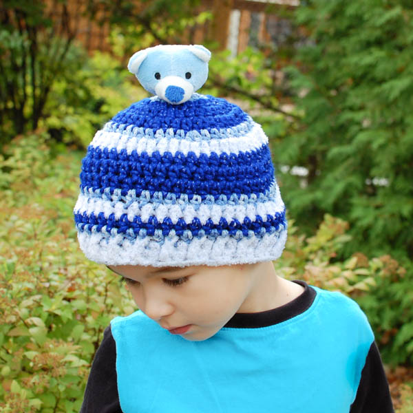 Top This! Yarn Free Crochet Hat Pattern by Petals to Picot - Bear - Photo Credit: petalstopicots.com