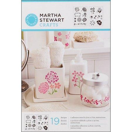 """Plaid Craft Martha Stewart Adhesive Stencils, 2 Sheets/pkg, Blossoms 5, 3/4"""" x 7-3/4"""", 19 Designs"""