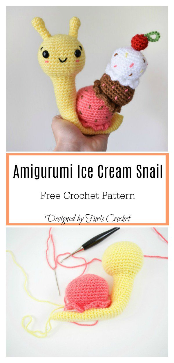 GET THE FREE CROCHET PATTERN HERE - Snail with an Ice Cream Cone by Furls Crochet