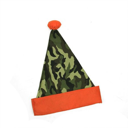 "15"" Green Camouflage Christmas Santa Hat with Pom-Pom - Adult Size"