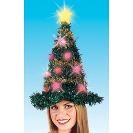 "19"" Light Up Adult Battery Operated Bright & Colorful Tinsel Christmas Tree Hat"