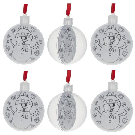 "3"" Set of 6 Color Your Own Plastic Christmas Ornaments"