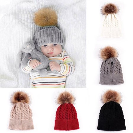 Baby Kids Fur Pom Bobble Cap Newborn Boys Girl Warm Knit Beanie Hat Xmas Gift