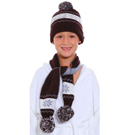 Children's Knitted Pom Pom Beanie & Scarf Set, Snowflake Pattern,Coffee