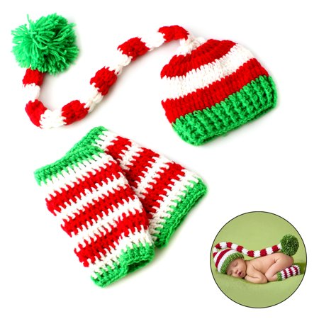 Christmas Crochet Knitted Newborn Baby Long Tail Beanie Hat for Photo Cosplay Props - Red White Green Stripe Hat