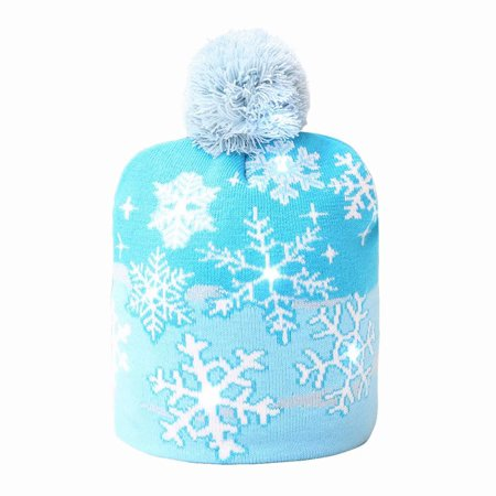 Christmas Hat, Fashion LED Knit Beanie Cap Knitted Winter Warm Hat for Kids Adults