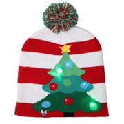 Christmas Hat, Justdolife Fashion Light up Knit Beanie Cap Knitted Winter Warm Hat Party Costume for Kids Adults