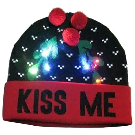 Christmas Hat, Justdolife Unisex LED Light up Knitted Hat Winter Warm Beanie Hat Party Cap Costume for Men Women