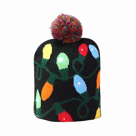 Christmas Hat, Light up Knit Beanie Cap Knitted Winter Warm Hat for Kids Adults