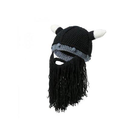 Christmas Knit Viking Beard Horn Hat Ski Cap Barbarian Vagabond Beanie
