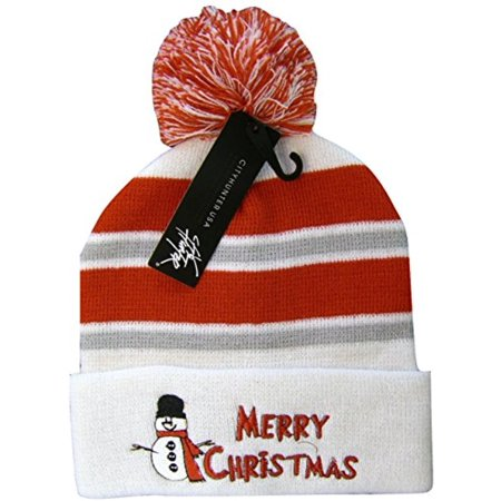 Christmas Snowman Cuffed Knit Winter Toboggan Hat Pom Beanie (White)