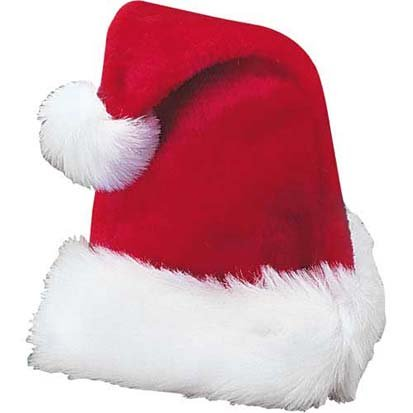"Cp 17"" Traditional Red and White Plush Christmas Santa Hat - Adult Size"