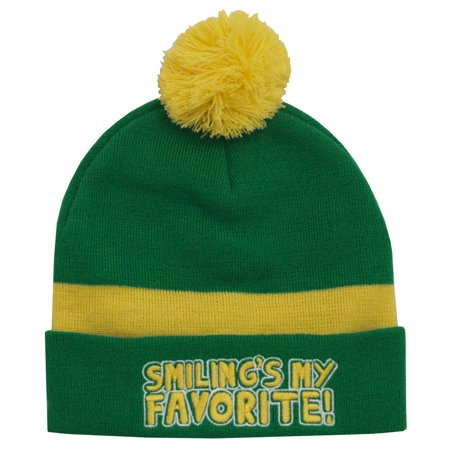 Elf Smiling's My Favorite Christmas Movie Adult Pom Beanie Hat