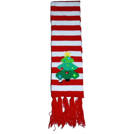 Gilbin Christmas Holiday Led Light Up Pom-Pom Knit Beanie Cap Matching Scarf