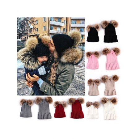 Girl12Queen Newborn Baby Boy Girl Mom Mother Winter Warm Pom Pom Bobble Beanie Hat Xmas Gift