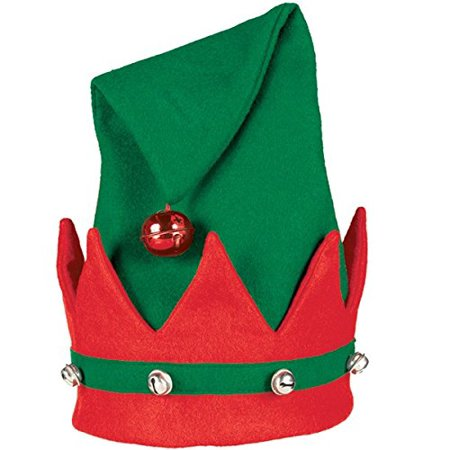 GREEN/RED ELF HAT WITH BELLS,AMSCAN