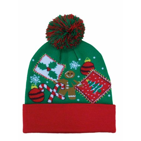 Holiday Mens Green Christmas Beanie Stocking Cap Winter Hat