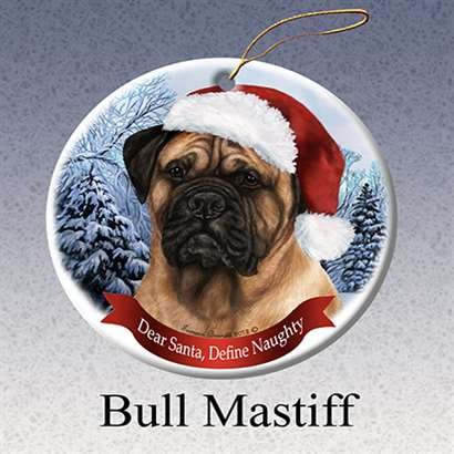 Holiday Pet Gifts Bull Mastiff Santa Hat Dog Porcelain Christmas Tree Ornament