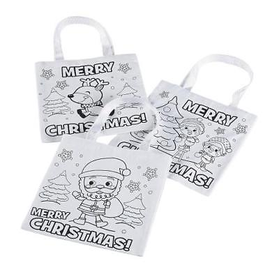 IN-13749923 Color Your Own Christmas Tote Bags Per Dozen