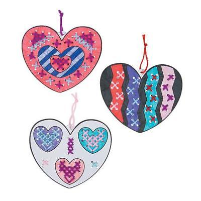 IN-13757253 Color Your Own Heart Cross Stitch Ornaments Makes 12 2PK
