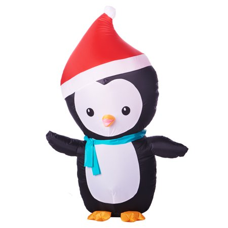 Inflatable Penguin with Santa Hat, 4'