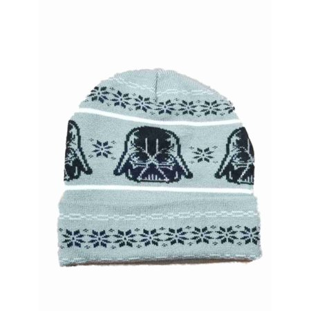 Men's Black Darth Vader Snowflake Star Wars Beanie Stocking Cap Hat