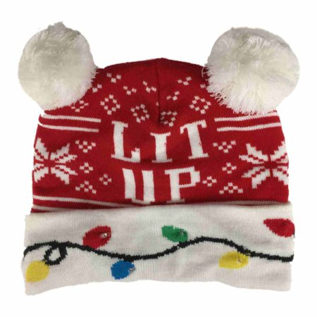 Mens Light Up Red Lit Up Christmas Lights Beanie Holiday Stocking Cap Hat