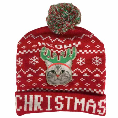 Mens Light Up Red Meowy Christmas Beanie Reindeer Cat Holiday Stocking Cap Hat