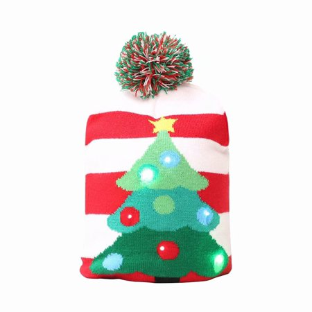 Merry Christmas LED Knit Beanie Hat Winter Warm Protective Cap Xmas Hat for Kids Adults