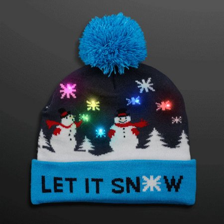 Multicolor LED Snowy Snowflake Winter Christmas Holiday Snowmen Beanie Hat by Blinkee