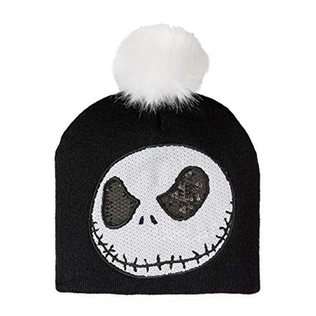 Nightmare Before Christmas Juniors Knitted Sequin Jack Beanie with Pom