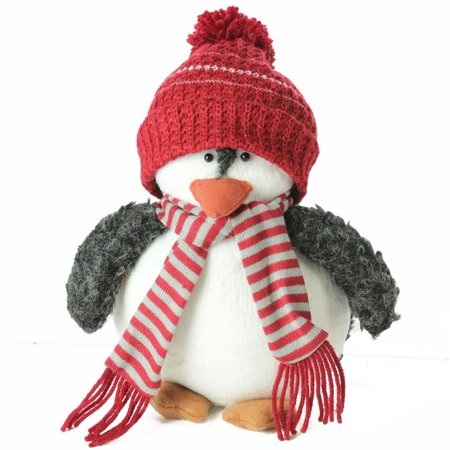 Northlight 9 in. Plush Christmas Penguin in Red Knit Beanie Hat
