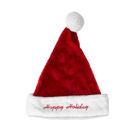 Plush Santa Hat with Happy Holidays Embroider 17 inch