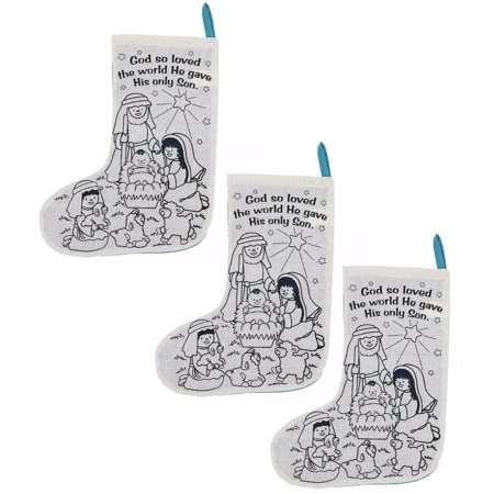 Set of 3 Paint Your Own Nativity Scene Christmas Stockings