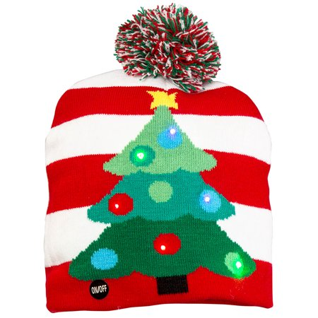 Size one size Flashing Lights Holiday Christmas Beanie Cap