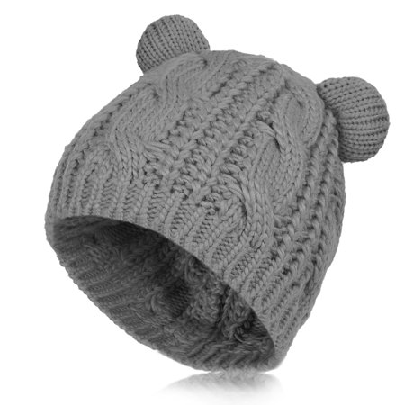 Vbiger Women Warm Hat Cat Ear Knitted Warm Cap Beanie Hat for Women, Cute Christmas Gift, Grey