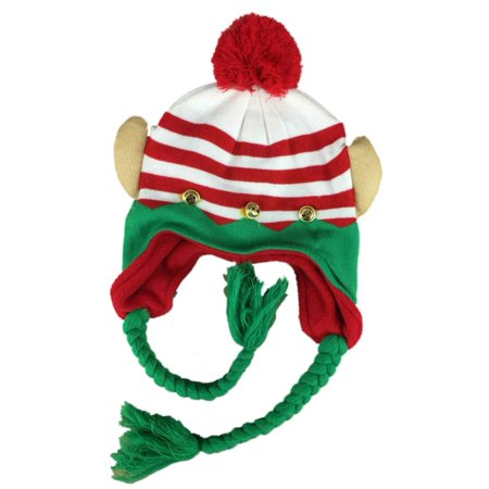 Womens Ugly Christmas Elf Peruvian Style Holiday Trapper Hat Fleece Lined
