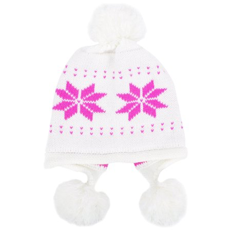 Women's Winter Snowflake Knit Beanie w/ Earflap and Pom Balls, White
