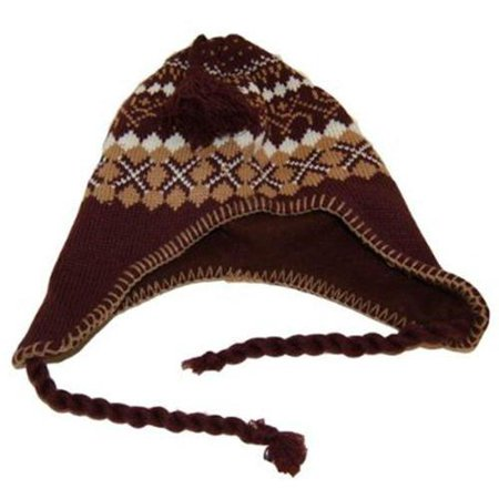 Wool Style Winter Snowflake Agryle Beanie Cap - Brown