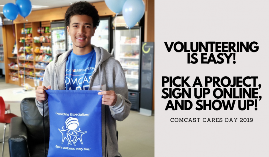 Volunteering is easy! Pick a project, sign up online, and show up!  - COMCAST CARES DAY 2019 - My Volunteer Experience #ComcastCaresDay ad