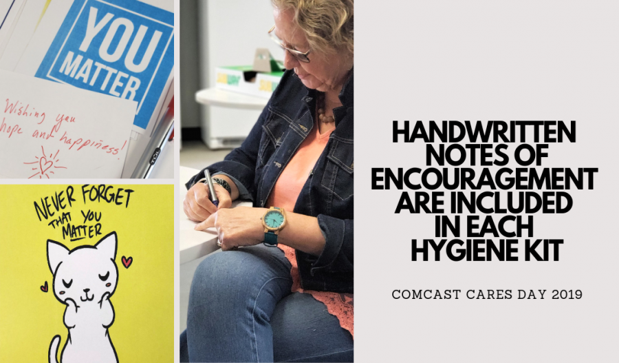 Handwritten notes of encouragement are included in each hygiene kit - COMCAST CARES DAY 2019 - My Volunteer Experience #ComcastCaresDay ad