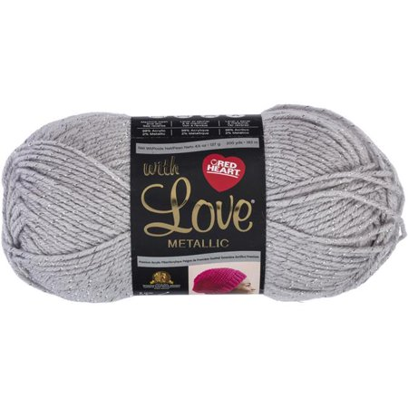 Red Heart with Love Metallic Light Grey Yarn, 1 Each