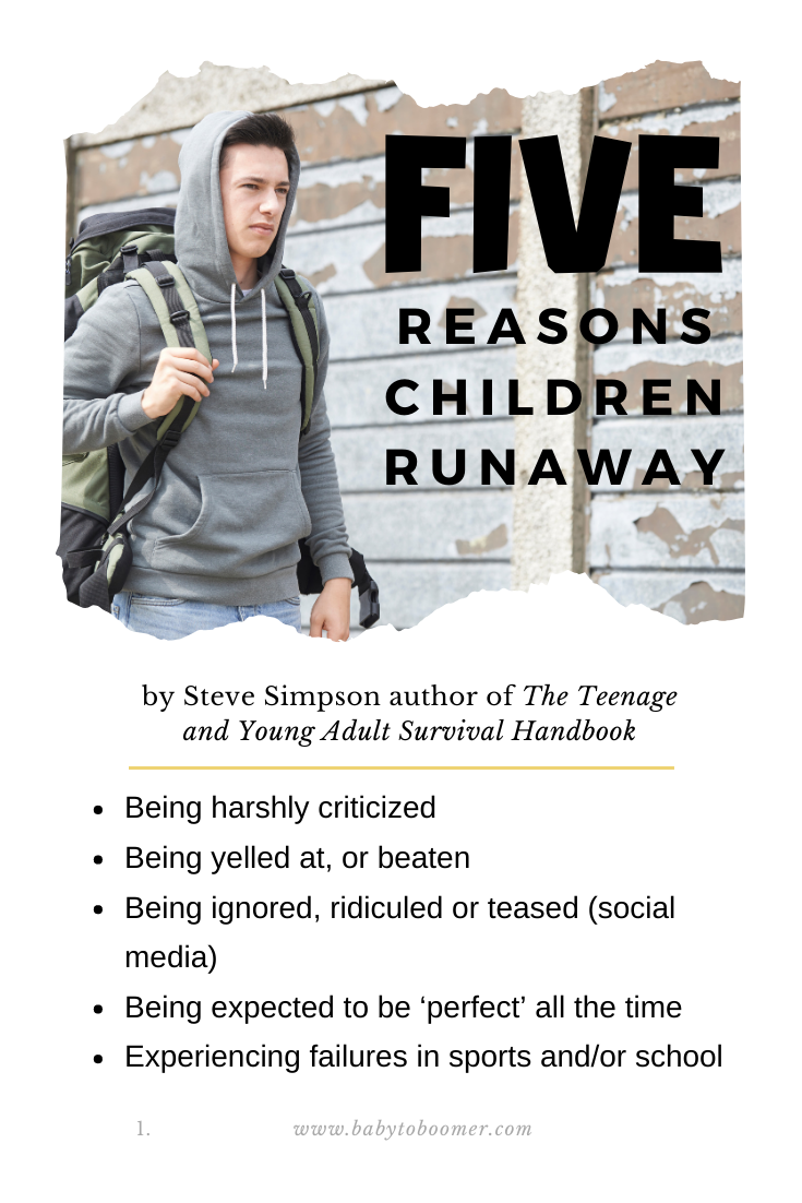 Reasons Children Runaway by Steve Simpson author of The Teenage and Young Adult Survival Handbook