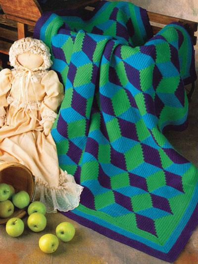 Tumbling Block Afghan Crochet Pattern - Electronic Download