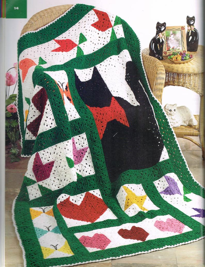 Big Book of Crochet Afghans: 26 Afghans for Year-Round Stitching - quilt-inspired crochet pattern with hearts, flowers, and cats.