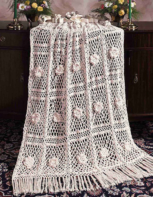 Big Book of Crochet Afghans: 26 Afghans for Year-Round Stitching - Cotton Roses - light and airy spring or summer blanket or throw pattern