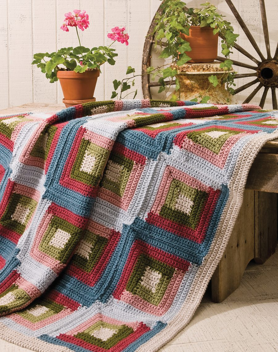 Big Book of Crochet Afghans: 26 Afghans for Year-Round Stitching - quilt-inspired Log Cabin blanket pattern